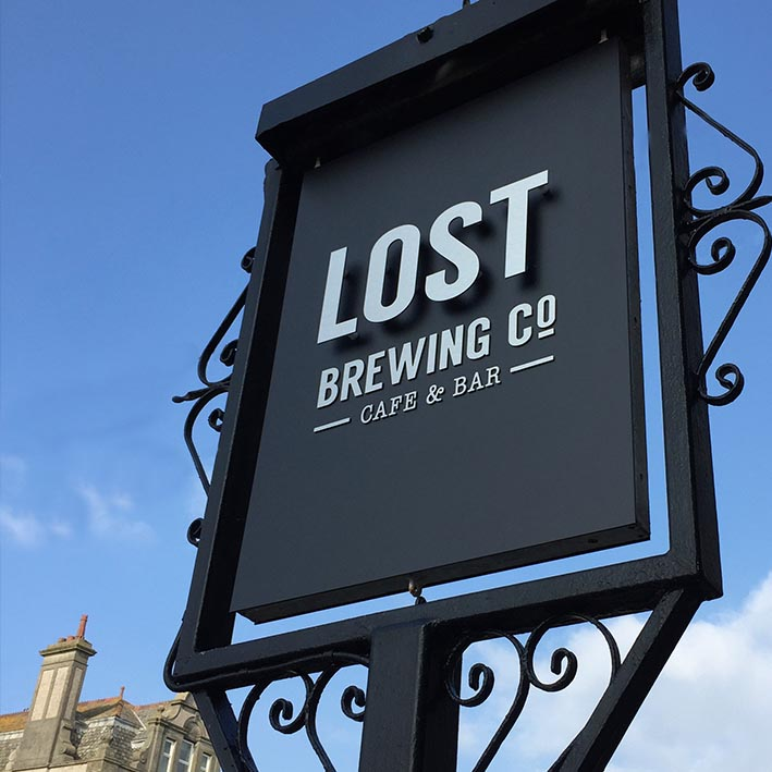 Cafe & bar sign made in Cornwall and installed at Lost Brewing Company Newquay