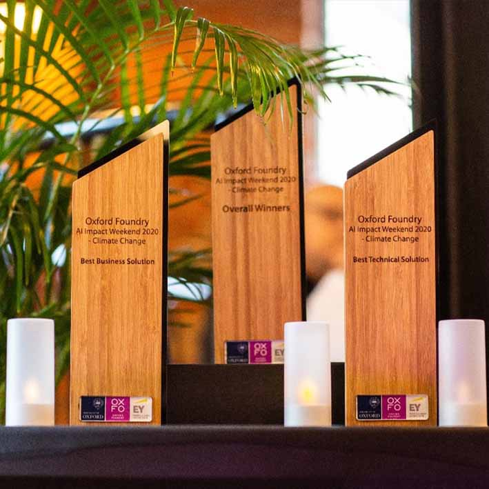 Recycled awards produced from bamboo for Oxford Climate Change