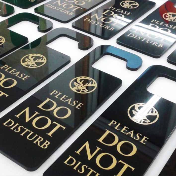 Custom hotel door hangers with do not disturb