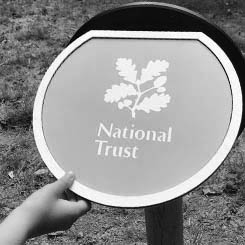 National Trust interpretation post sign