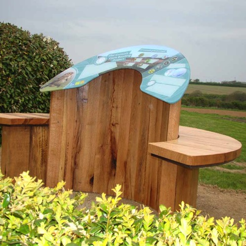 Interpretation lectern dispaly stand for wildlife with curved seating in Cornwall
