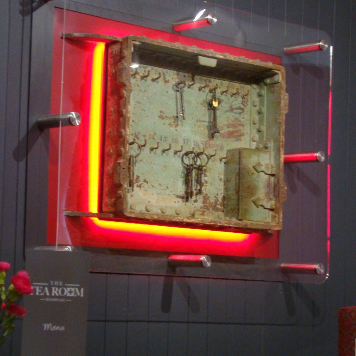 Custom museum display cabinet with illuminated keysafe