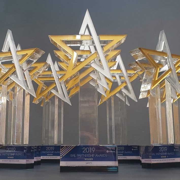 Rail awards made from acrylic in star shape