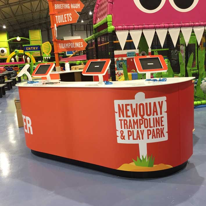 Retail counter with ipad holders for Newquay trampoline park