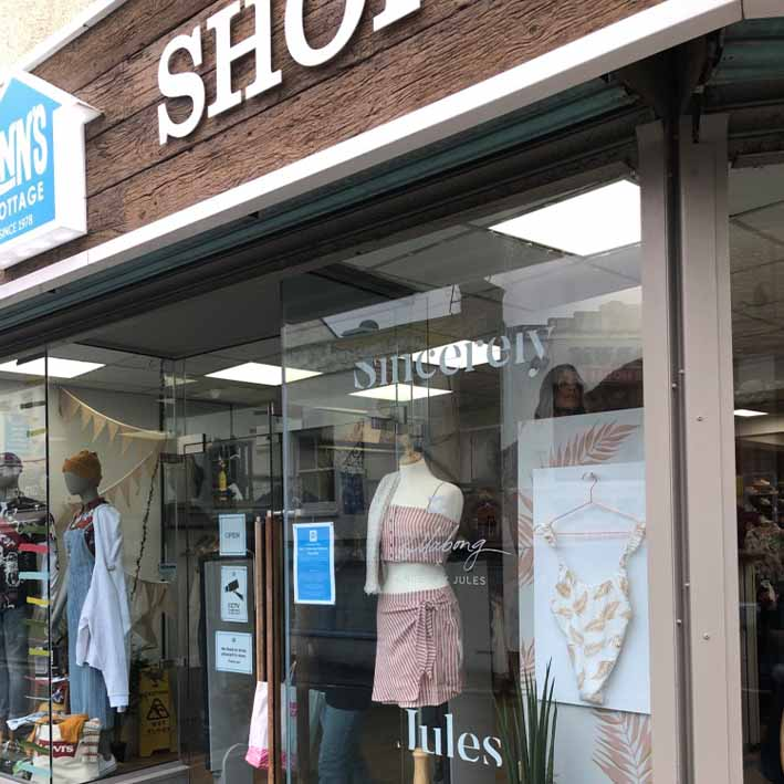 Retail window display graphics and prop dressing Cornwall