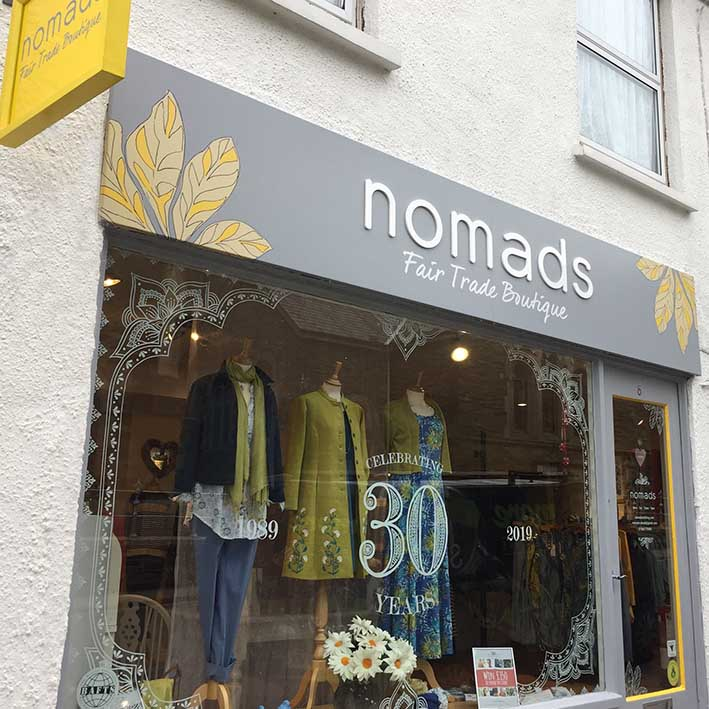Shop fascia sign made in cornwall for Nomads Launceston