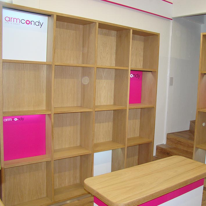 Shopfitting project in Falmouth Cornwall with custom shop furniture and shelving