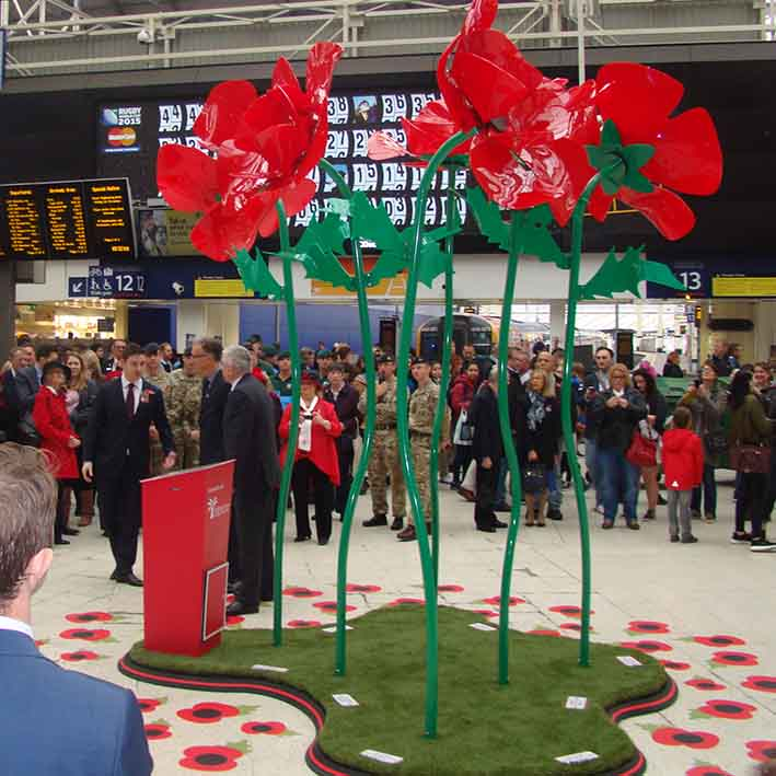 Temporary exhibit for poppy appeal at Waterloo Station in London