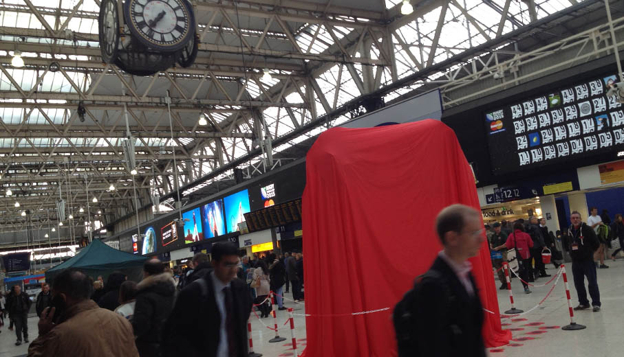 Waterloo station with poppy exhibit waiting to be unveiled