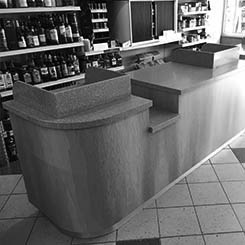 bespoke shop counter with till checkout and resin formed surface